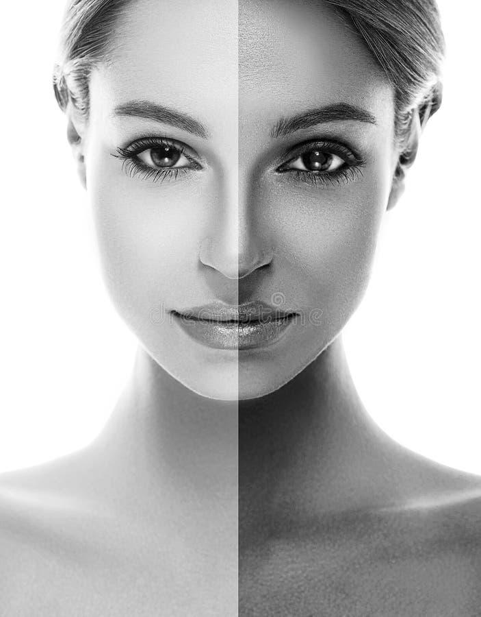 Γυναικών όμορφο πορτρέτο μαυρίσματος προσώπου μαυρίσματος μισό γραπτό στοκ φωτογραφίες