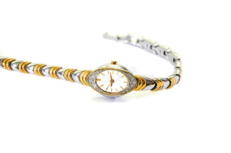 Γυναικών wristwatches με το βραχιόλι σε ένα άσπρο υπόβαθρο στοκ φωτογραφίες με δικαίωμα ελεύθερης χρήσης
