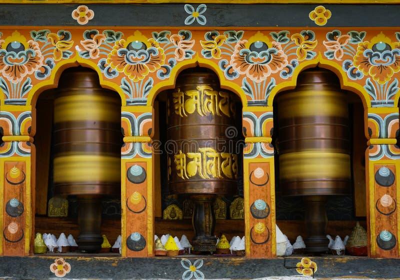 Γυρίζοντας μάντρα στο Μπουτάν στοκ φωτογραφίες