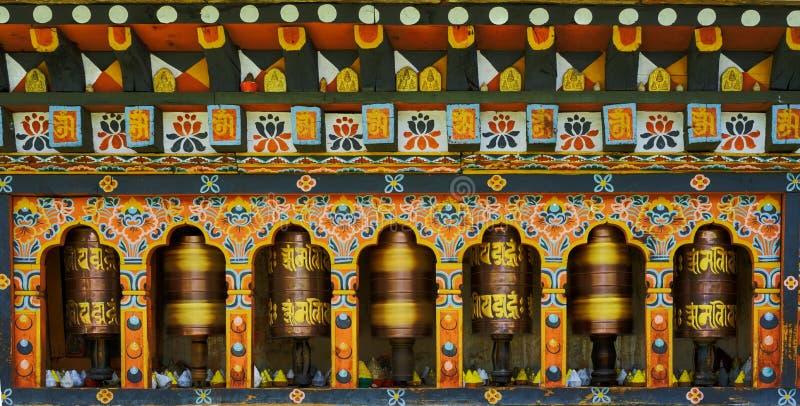 Γυρίζοντας μάντρα στο Μπουτάν στοκ εικόνες