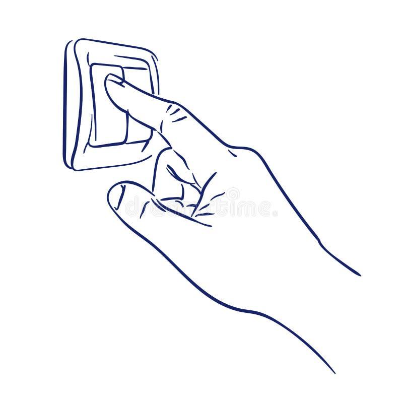 Γυρίστε το φως ανάβει το χέρι απεικόνιση αποθεμάτων