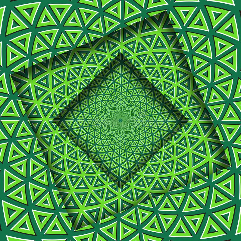 Γυρισμένα περίληψη πλαίσια με ένα περιστρεφόμενο πράσινο σχέδιο στοιχείων ασβέστη τριγωνικό Οπτικό υπόβαθρο παραίσθησης ελεύθερη απεικόνιση δικαιώματος