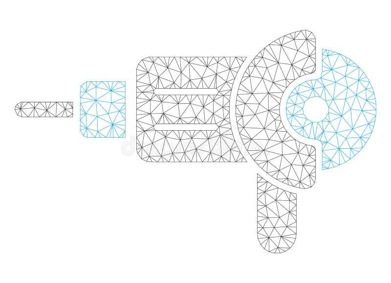 Γωνίας μύλων Polygonal απεικόνιση πλέγματος πλαισίων διανυσματική απεικόνιση αποθεμάτων