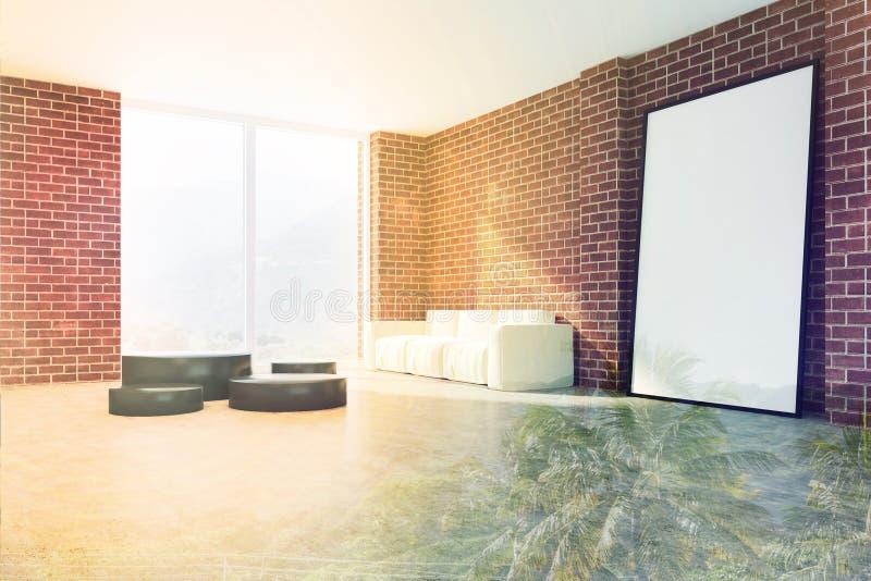 Γωνία καθιστικών τούβλου, μεγάλη αφίσα που τονίζεται απεικόνιση αποθεμάτων