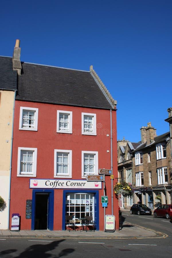 Γωνία καφέ, αγορά, Jedburgh στοκ εικόνα