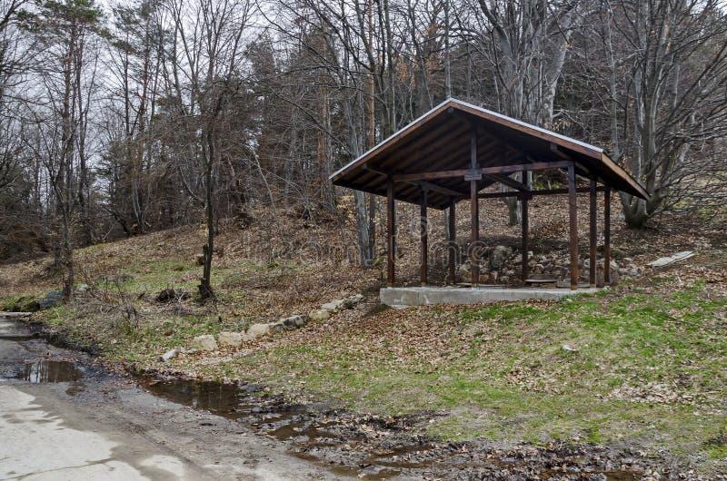 Γωνία με το ξύλινο καταφύγιο για τη χαλάρωση στο πράσινο δάσος πλησίον από την ανάβλυση νερού, βουνό Plana στοκ εικόνες