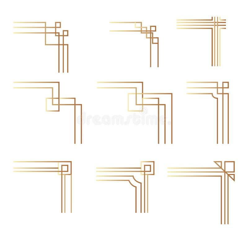 Γωνία art deco Σύγχρονες γωνίες γραφικών για περίγραμμα μοτίβου εποχής χρυσού απεικόνιση αποθεμάτων