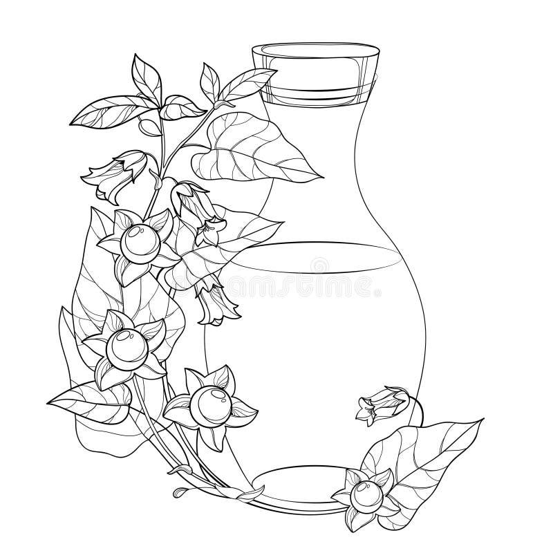 Γωνιακή ομάδα φορέων με τοξικό περίγραμμα Atropa bellaντόνα ή θανατηφόρο νυκτόβιο λουλούδι, μούρο, φύλλο και μπουκάλι σε μαύρο απ διανυσματική απεικόνιση