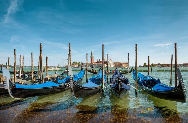 Γόνδολες κοντά στην πλατεία Αγίου Mark ` s στη Βενετία, Ιταλία στοκ εικόνες με δικαίωμα ελεύθερης χρήσης