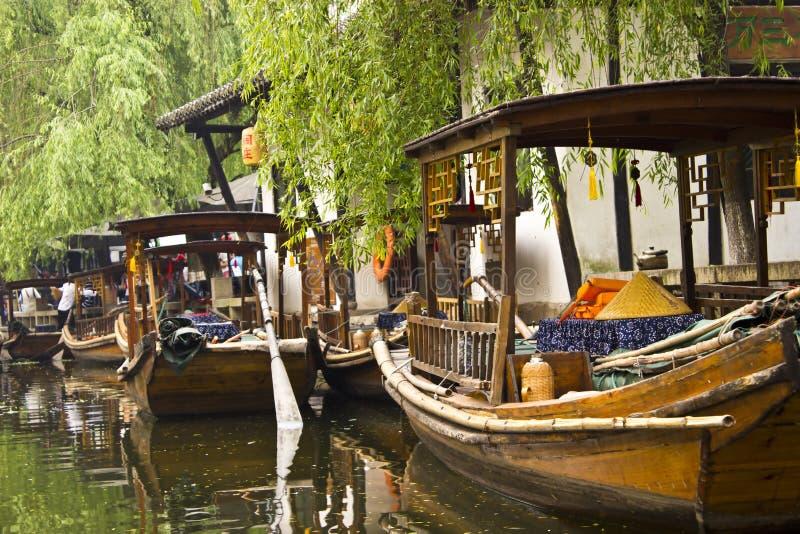 γόνδολες της Κίνας zhouzhuang στοκ εικόνα με δικαίωμα ελεύθερης χρήσης