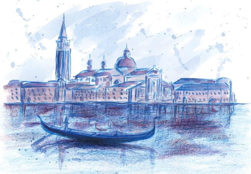 Γόνδολα και SAN Giorgio Maggiore Church Ιταλία Βενετία διανυσματική απεικόνιση