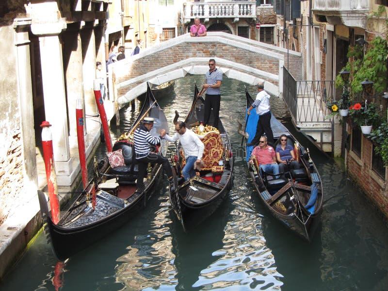 γόνδολες τρία Βενετία στοκ εικόνες με δικαίωμα ελεύθερης χρήσης