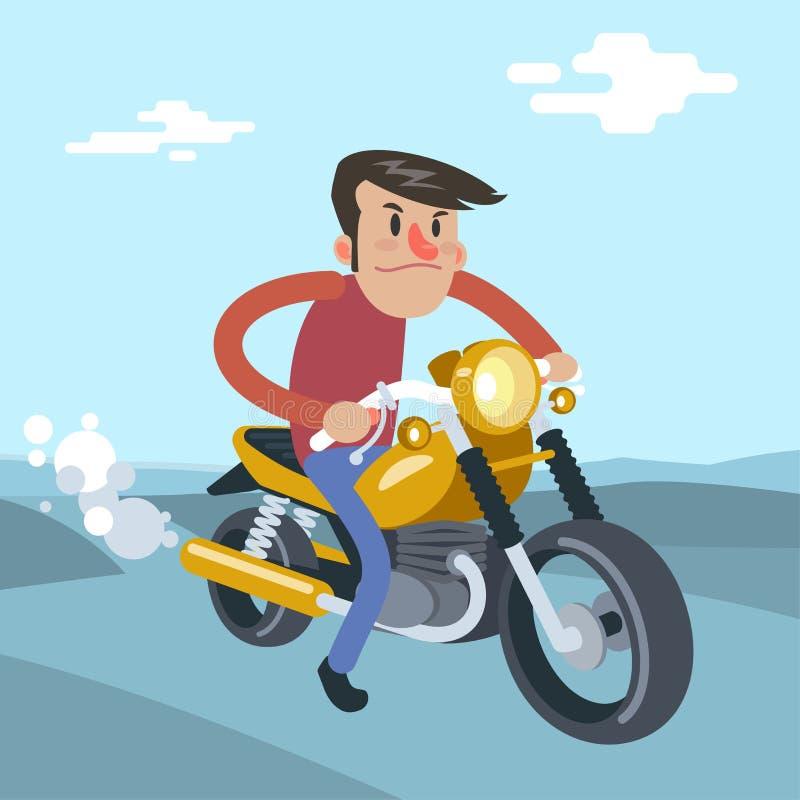 Γύρος ατόμων στη μοτοσικλέτα, διανυσματική επίπεδη απεικόνιση κινούμενων σχεδίων διανυσματική απεικόνιση