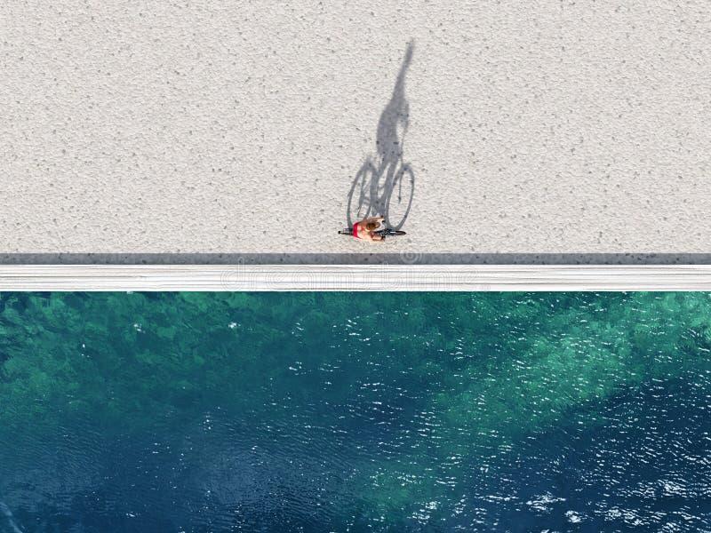 Γύρος γυναικών στο ποδήλατο σε μια παραλία διανυσματική απεικόνιση