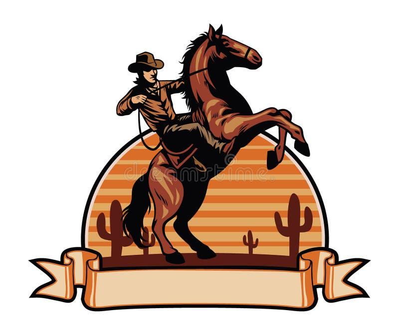 Γύρος κάουμποϋ ένα άλογο διανυσματική απεικόνιση
