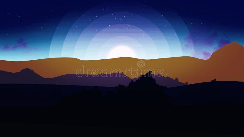 Γύρος κινούμενων σχεδίων κοντά στα βουνά Βράση που πυροβολείται ενός ridgeline βουνών κατά τη διάρκεια ενός ζωηρόχρωμου ηλιοβασιλ ελεύθερη απεικόνιση δικαιώματος
