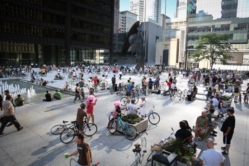 γύρος κρίσιμης μάζας του Σικάγου ποδηλάτων στοκ εικόνες με δικαίωμα ελεύθερης χρήσης