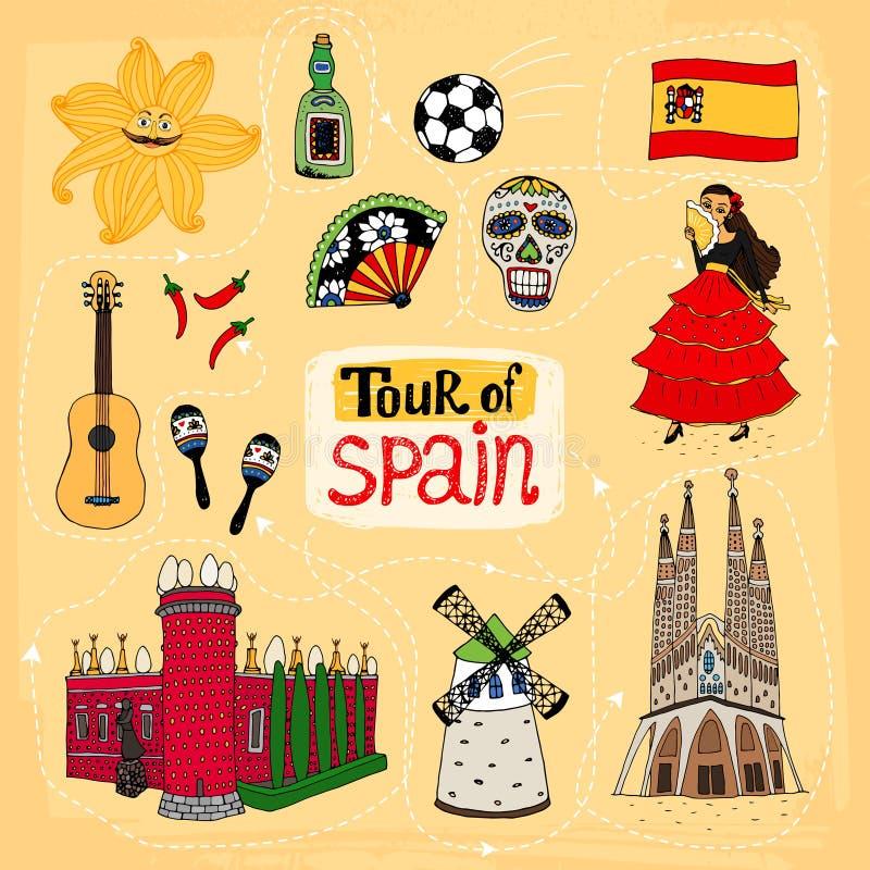 Γύρος της hand-drawn απεικόνισης της Ισπανίας ελεύθερη απεικόνιση δικαιώματος