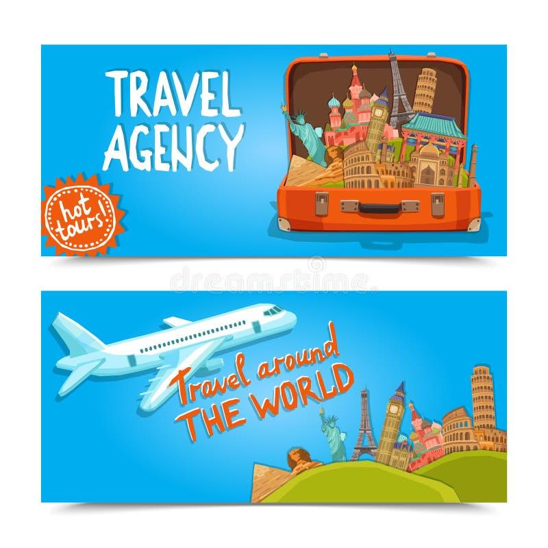 Γύρω από τα οριζόντια εμβλήματα παγκόσμιων ταξιδιωτικών γραφείων διανυσματική απεικόνιση