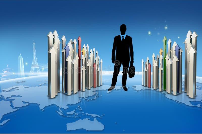 γύρω από τη γιγαντιαία ανάπτυξη επιχειρησιακής businesspeople έννοιας βελών που δείχνει επάνω στοκ εικόνες