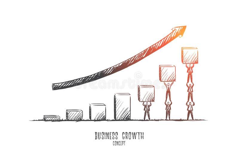 γύρω από τη γιγαντιαία ανάπτυξη επιχειρησιακής businesspeople έννοιας βελών που δείχνει επάνω Συρμένο χέρι απομονωμένο διάνυσμα διανυσματική απεικόνιση