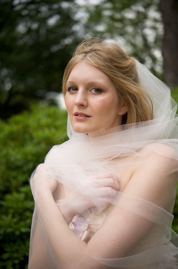 γύρω από τη νύφη το πέπλο της που τυλίγεται στοκ εικόνες