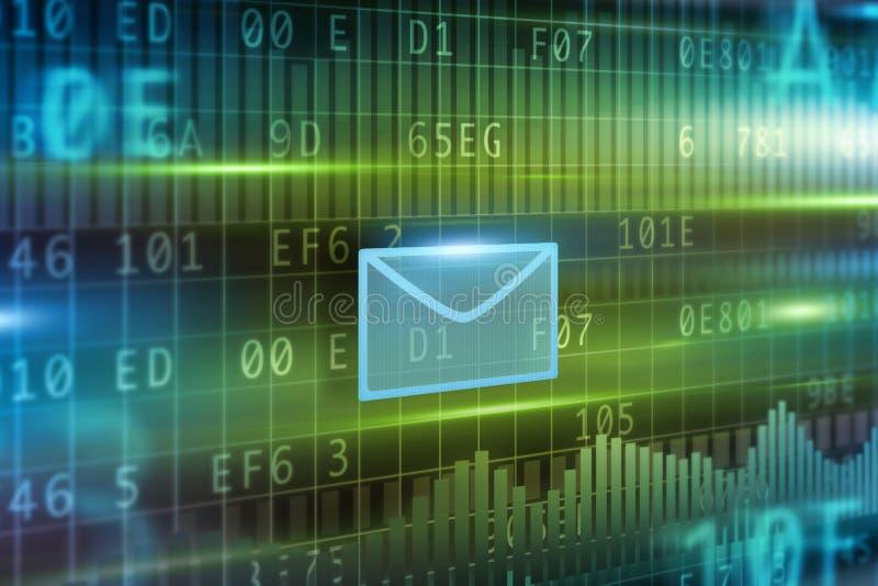 γύρω από τον μπλε φάκελο έννοιας ε βελών μέσα στο λευκό συμβόλων φύλλων ταχυδρομείου διανυσματική απεικόνιση