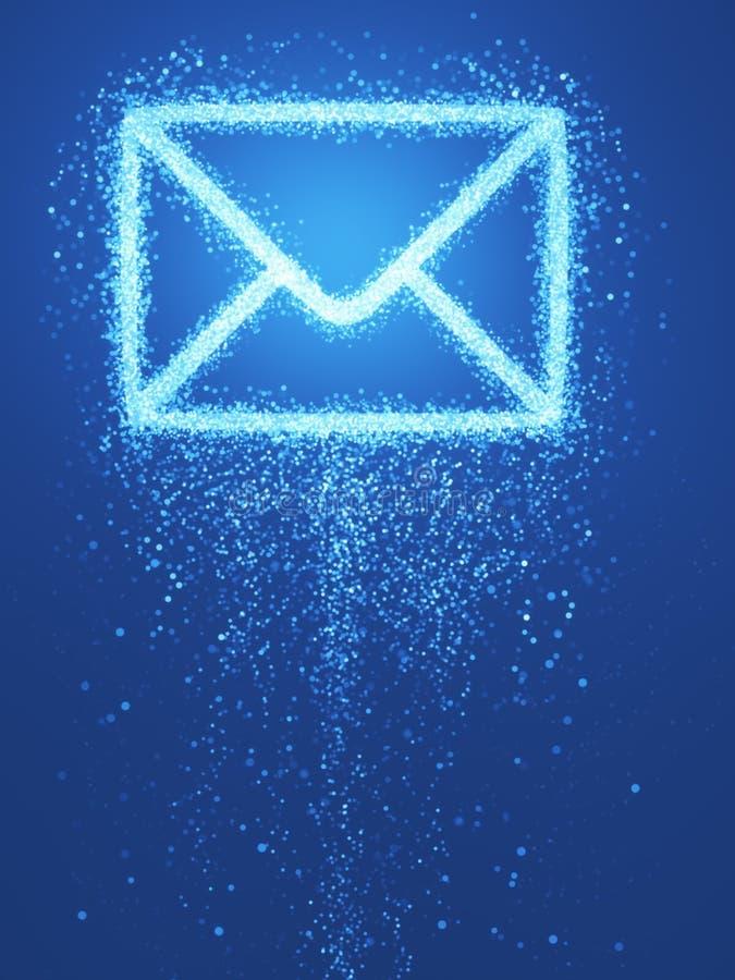 γύρω από τον μπλε φάκελο έννοιας ε βελών μέσα στο λευκό συμβόλων φύλλων ταχυδρομείου απεικόνιση αποθεμάτων