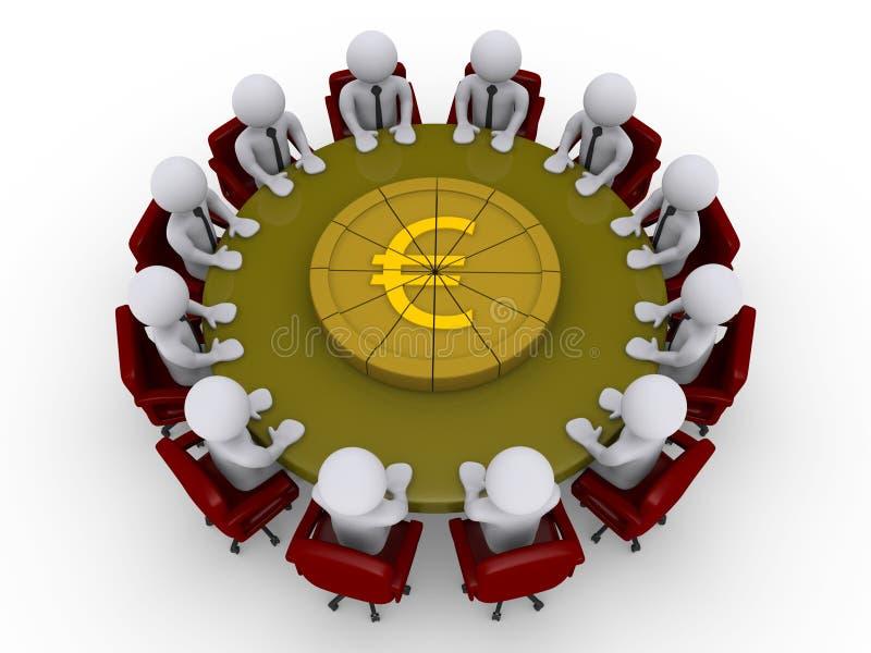 γύρω από τους επιχειρηματίες διαιρέστε τον ευρο- πίνακα πιτών ελεύθερη απεικόνιση δικαιώματος