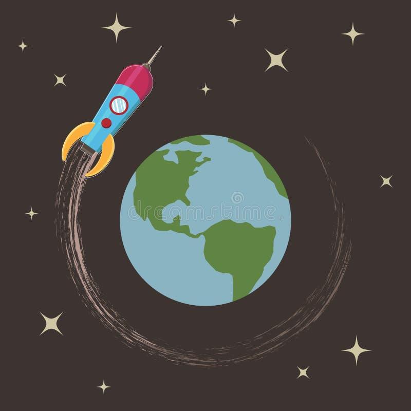 γύρω από το γήινο πύραυλο ελεύθερη απεικόνιση δικαιώματος