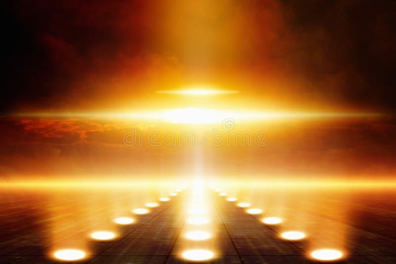 γύρω από το είδος απεικόνισης extraterrestrials δίσκων που προσγειώνεται το μεταλλικό shockwave μορφής αντικειμένου ufo ουρανού στοκ φωτογραφίες