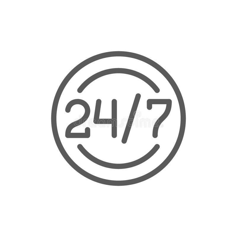 Γύρω από το ρολόι και το καθημερινό πρόγραμμα εργασιών, υπηρεσία 24 ωρών, εικονίδιο χρονικών γραμμών βοήθειας ελεύθερη απεικόνιση δικαιώματος