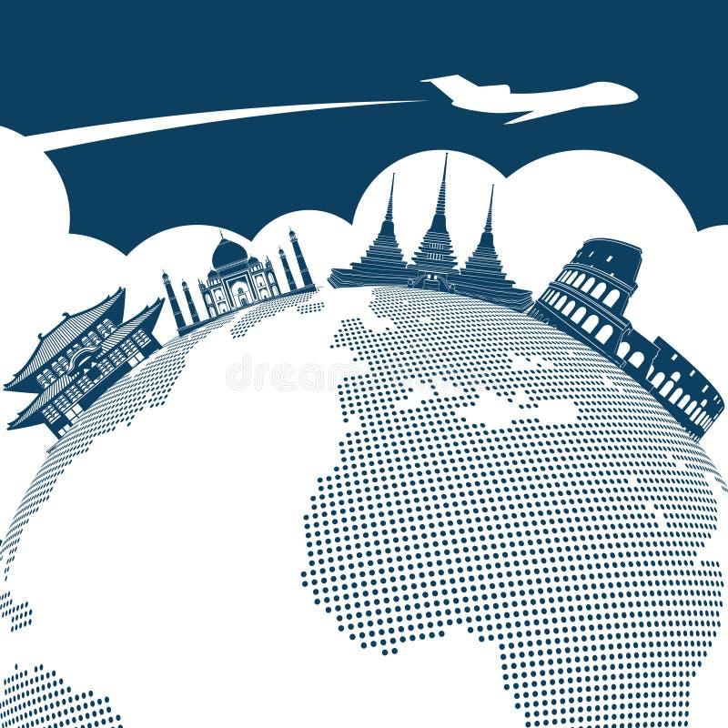 Γύρω από το σχέδιο υποβάθρου παγκόσμιου ταξιδιού ελεύθερη απεικόνιση δικαιώματος