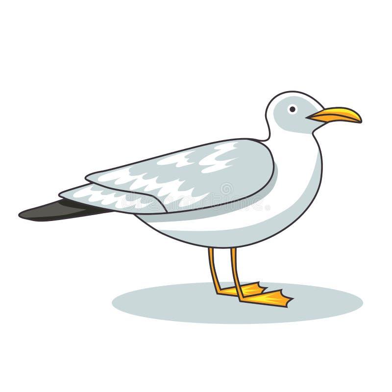 γλάρος Γλάρος πουλιών και θαλασσοπουλιών πτήσης cartoon commander gun his illustration soldier stopwatch διανυσματική απεικόνιση