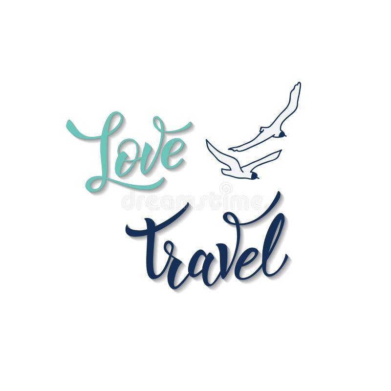 Γλάρος και αρχικό χειρόγραφο ταξίδι αγάπης κειμένων ελεύθερη απεικόνιση δικαιώματος