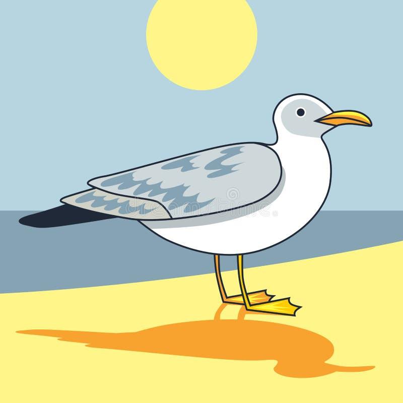 Γλάρος πουλιών και θαλασσοπουλιών πτήσης γλάρων Ð ¡ artoon που φαίνεται γλάρος απεικόνιση αποθεμάτων
