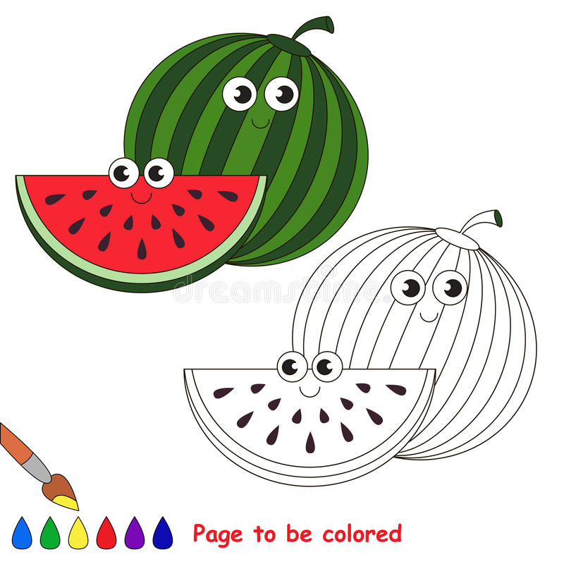 Γλυκά κινούμενα σχέδια καρπουζιών Σελίδα που χρωματίζεται ελεύθερη απεικόνιση δικαιώματος