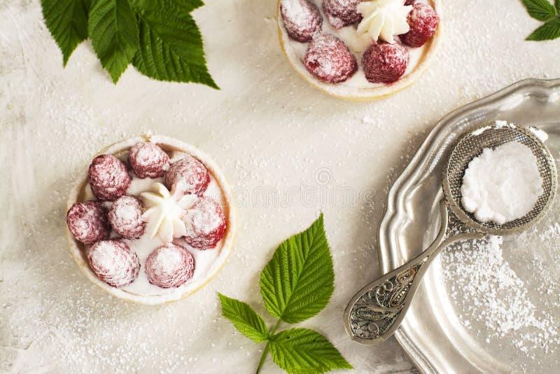 Γλυκά μικρά tarts με το φρέσκο σμέουρο στοκ φωτογραφίες