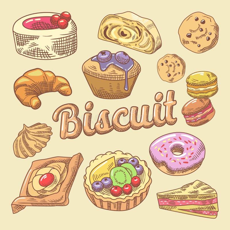 Γλυκά τρόφιμα συρμένο χέρι Doodle με Cupcake, Croissant και Macaroon Κέικ αρτοποιείων καθορισμένα απεικόνιση αποθεμάτων