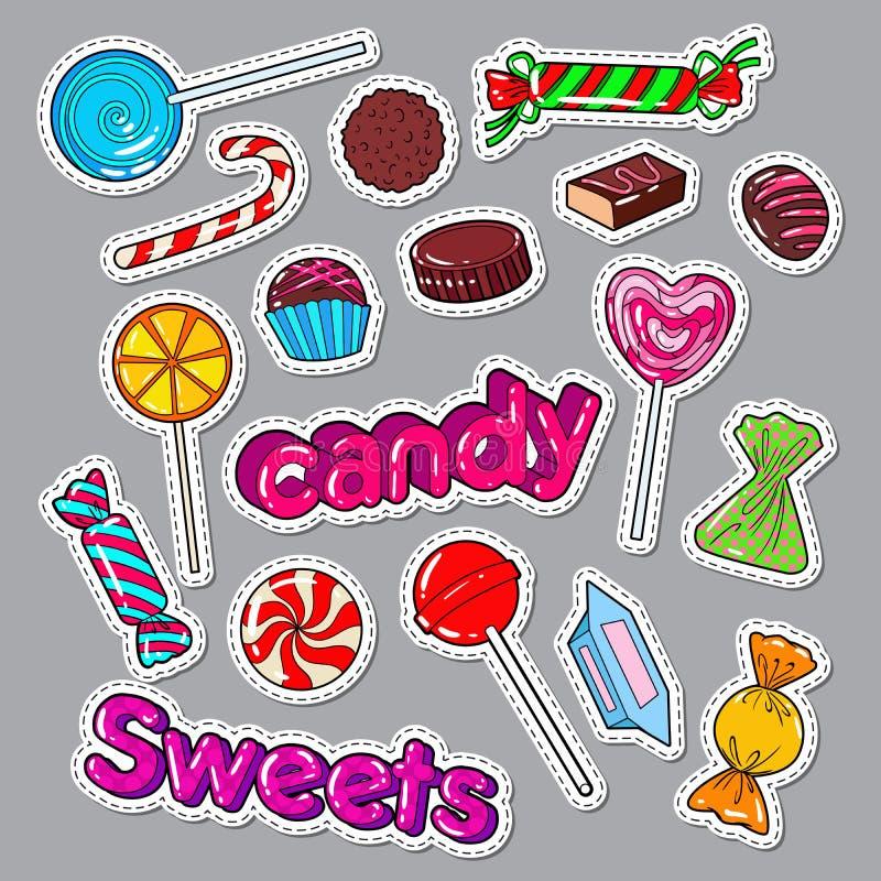 Γλυκά τρόφιμα Doodle καραμελών Αυτοκόλλητες ετικέττες, διακριτικά και μπάλωμα με τις σοκολάτες και Lollipop απεικόνιση αποθεμάτων