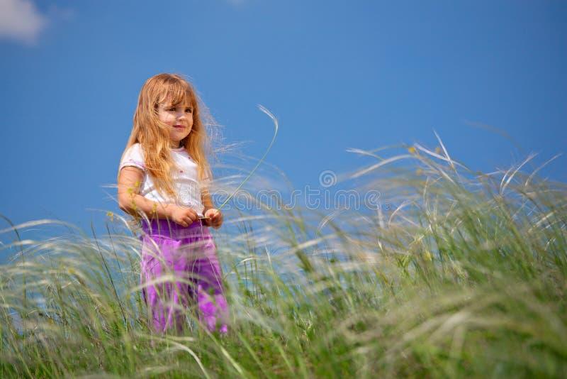 Περίπατοι μικρών κοριτσιών στον τομέα στοκ εικόνα με δικαίωμα ελεύθερης χρήσης