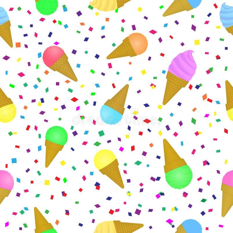 Γλυκό άνευ ραφής σχέδιο παγωτού Θερινό υπόβαθρο φεστιβάλ διακοπών με το κρύο επιδόρπιο και το πολύχρωμο κομφετί διανυσματική απεικόνιση