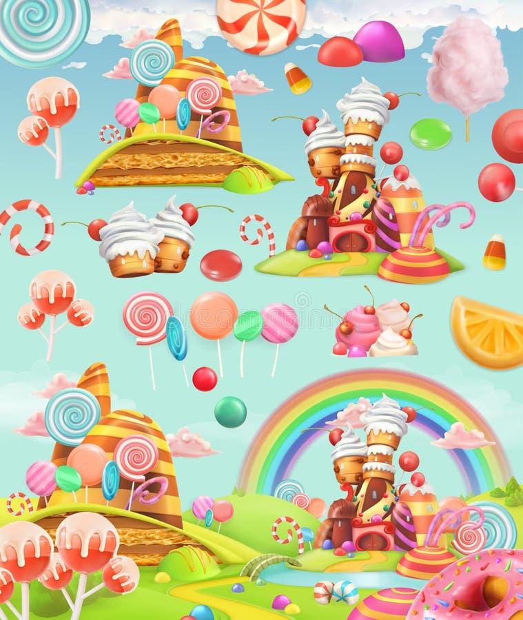 Γλυκό έδαφος καραμελών Υπόβαθρο παιχνιδιών κινούμενων σχεδίων τα εικονίδια εικονιδίων χρώματος χαρτονιού που τίθενται κολλούν το  απεικόνιση αποθεμάτων