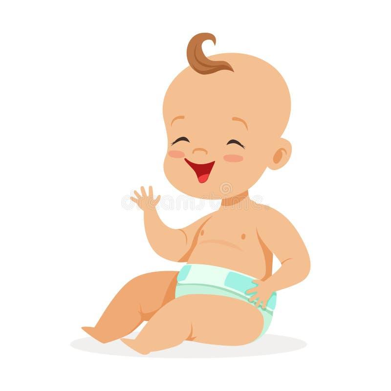 Γλυκό λίγο μωρό σε μια συνεδρίαση και το γέλιο πανών, ζωηρόχρωμη διανυσματική απεικόνιση χαρακτήρα κινουμένων σχεδίων ελεύθερη απεικόνιση δικαιώματος