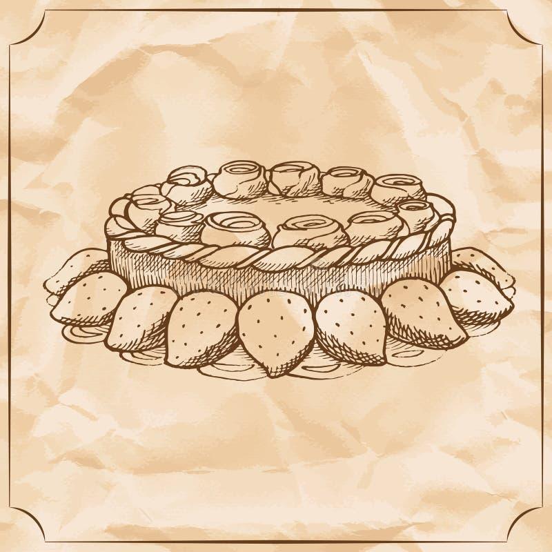 Γλυκό αναδρομικό κέικ με την κτυπημένα κρέμα και τα μούρα Μεταχειριστείτε για τα γενέθλια απεικόνιση αποθεμάτων