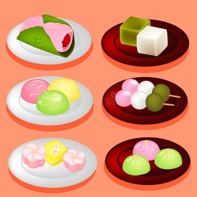 Γλυκό επιδόρπιο της Ιαπωνίας χρώματος διανυσματική απεικόνιση