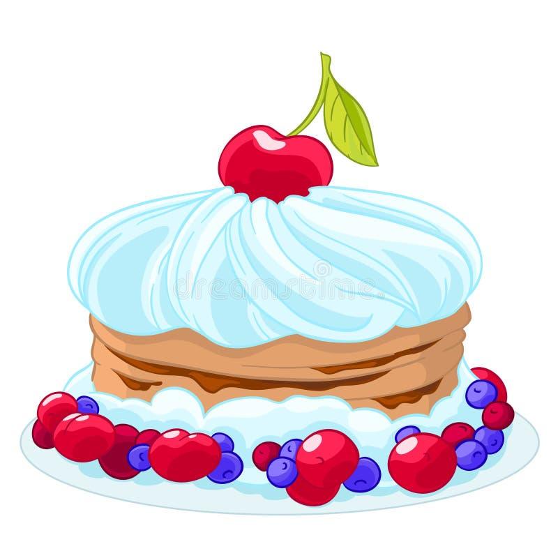 Γλυκό κέικ κινούμενων σχεδίων εικονιδίων με την κτυπημένα κρέμα, τα κεράσια, τα βακκίνια και τα μούρα Μεταχειριστείτε για τα γενέ απεικόνιση αποθεμάτων
