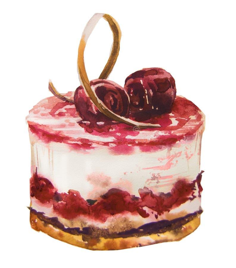Γλυκό κέικ Watercolor απεικόνιση αποθεμάτων