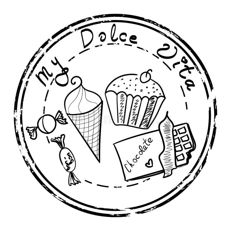 Γλυκό καθορισμένο γραμματόσημο τροφίμων απεικόνιση αποθεμάτων