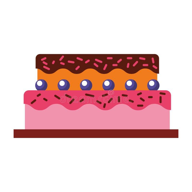Γλυκό και εύγευστο κέικ διανυσματική απεικόνιση